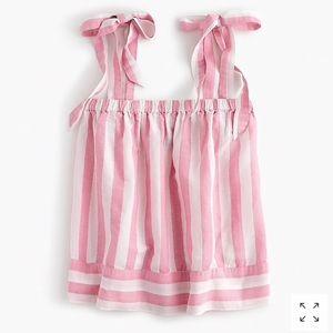 [J.Crew] Pink Tie Shoulder Linen Striped Top
